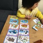 英語カードのモニターをさせて頂きました🥰❣️英語教育には力を入れたいなと思ってるので、こちら嬉しかったです。4歳からが対象なので、3歳の娘にはまだ早いけど、こうやって絵合わせするだけでも楽しそ…のInstagram画像
