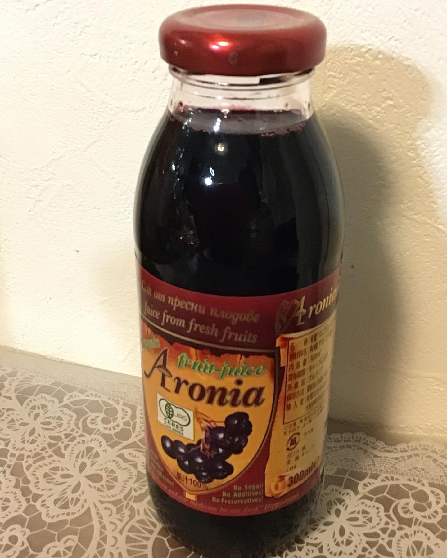 口コミ投稿:有機アロニア100%果汁飲んでみました北米原産の小果樹ですがロシアで品種改良されブ…