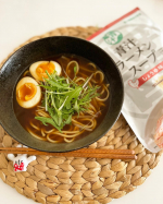 ..𝓁𝓊𝓃𝒸𝒽❥❥.昨日のお昼はおひとり様ランチ😚🍜.\  ダイエットの新定番❣️ /濃厚スープで満腹感たっぷり😆💕.青汁ラーメンスープ(しょうゆ味)でオリジナ…のInstagram画像