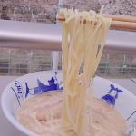 なべやき屋キンレイ様のお水がいらないシリーズラーメン横綱豚骨醤油味をお花見がてらお外で食べました!庭から桜が見えるので毎年うっとりしてみていましたが今年は花よりラーメンでしたw濃厚なスープにツ…のInstagram画像