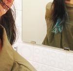 #いつもと違う 今回は5分で髪色チェンジ!「デビルズトリック」の新色を先行お試しさせていただきました!カラーは キャプテンターコイズ。本当に発色が良い‼️痛んだ…のInstagram画像