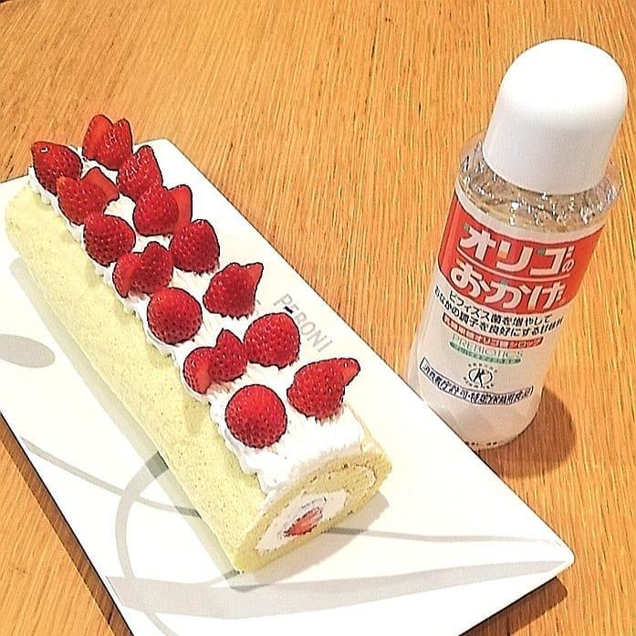 口コミ投稿:砂糖をオリゴのおかげに置換えていちごのロールケーキを作りましたオリゴのおかげは…