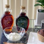 #朝ご飯毎日食べる ヨーグルトお砂糖よりではなく我が家はメープルシロップロイヤルユキのメープルシロップ@kefirfanカナダ産 天然メープルシロップダークとベ…のInstagram画像