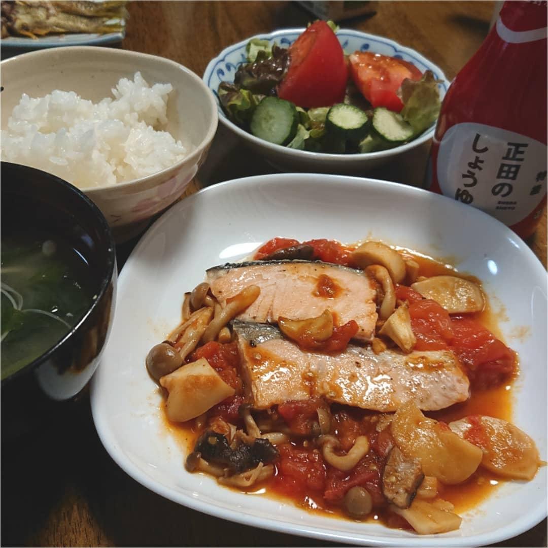 口コミ投稿:久々に父との夕飯🍚鮭の和風カルパッチョにしました🎶トマトってなかなか料理に使わな…
