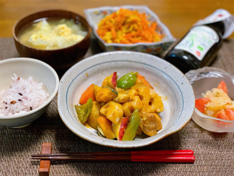 口コミ投稿:.お野菜たっぷり、鶏の黒酢餡掛け🌝揚げずに米粉をまぶして焼いたら、野菜を炒めて合…