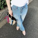 大人の小さい女性サイズ✨✨プッチージョ✨✨小さいサイズ ブーツカットデニムパンツ(タテヨコストレッチジーンズ)をお試しさせていただきました✨ビンテージブルー✨✨サイズ:58~67(4サ…のInstagram画像