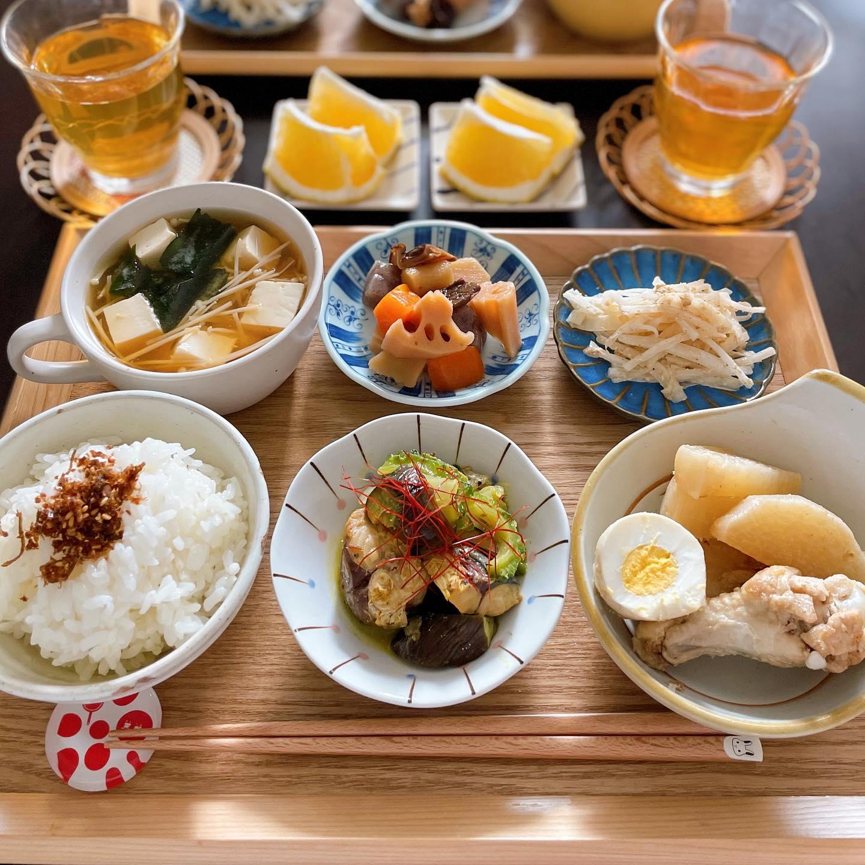 口コミ投稿:♡今日の#晩ご飯🍳かつおふぶきご飯🍳鯖缶、ゴーヤ、ナスのカレー炒め🍳手羽元と大根の蜂…