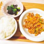 🍳\ 夜ごはん𓌉◯𓇋 /𖧧.。.Menu⚪︎豚肉のナポリタン風⚪︎小松菜とほうれん草の海苔和えケチャップと粉チーズでナポリタン風の炒め物🐖⋆︎*貧血気味なの…のInstagram画像