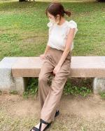 ▶︎▷▶︎▷ @nissen_ladies_official 最近これ以外履いてないんじゃないかくらいお気に入りのニッセンの【とろみ素材】タックワイドパンツ☘️これねー、見た目が気に入…のInstagram画像