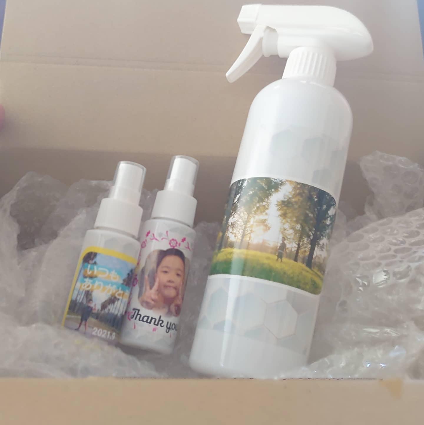 口コミ投稿:祖父母にプレゼントする除菌剤に、【みんなのシール】を貼ってたけるオリジナル消毒…