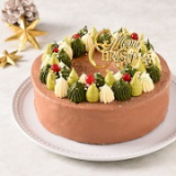 「公開冷凍配送テスト】仮称クリスマスのリース(チョコ)<バタークリームケーキ>」の画像(1枚目)