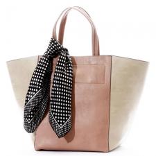 【カシュカシュ】スカーフ付きシンプルビッグトートバッグ