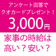 「【3,000円プレゼント】家事の時給は高い?安い?」の画像、株式会社サニクリーンのモニター・サンプル企画
