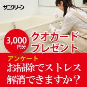 株式会社サニクリーンの取り扱い商品「【クオカード贈呈】 《アンケート》 あなたはお掃除でストレス解消できますか?」の画像