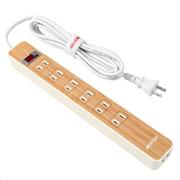 株式会社べステックグループの取り扱い商品「電源タップ 6個口 USB2ポート 木目調」の画像