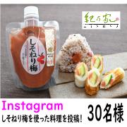 「【紀乃家】Instagramへ「しそねり梅」を使った料理の投稿をして下さる方募集(30名様)」の画像、川辺食品株式会社のモニター・サンプル企画