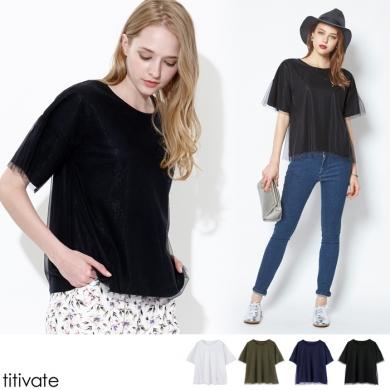 【titivate】クルーネック チュールTシャツ