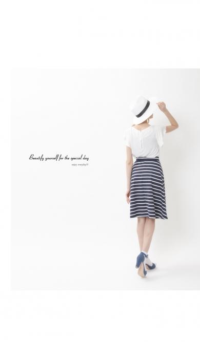 【titivate】膝丈ボーダーフレアスカート