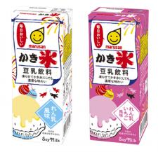 マルサンアイ株式会社の取り扱い商品「豆乳飲料かき氷 れん乳風味・れん乳いちご風味」の画像
