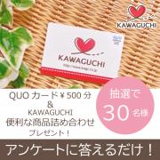 【抽選で30名様】アンケートに答えるだけでQUOカード¥500分+KAWGUCHI便利な商品詰め合わせをプレゼント!