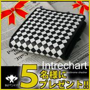 お財布【人気ブランドBVORY】イントレチャート チェッカー二つ折り財布