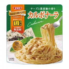 清水食品株式会社の取り扱い商品「レンジでおいしい パスタソース カルボナーラ」の画像