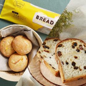 「【LOHACO BREAD】 北海道コーンのふんわりプチパン・石窯レーズン食パン(アスクル株式会社)」の商品画像