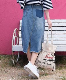 リメイクひざ丈デニムスカートの商品画像