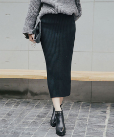 ハイウエストリブニットミディ丈スカートの商品画像