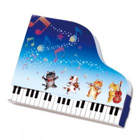 「【口と足で描いた絵】ピアノメモ♪ 音楽を奏でるネコをプリントしたピアノ型メモ(口と足で描く芸術家協会)」の商品画像