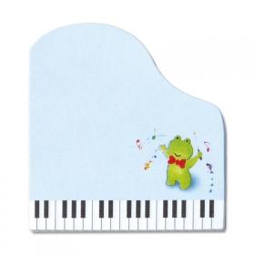 「【口と足で描いた絵】マスコットスティッカー♪カエルをプリントしたピアノ型付せん紙(口と足で描く芸術家協会)」の商品画像