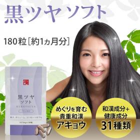 飲むだけ簡単! 白髪サプリ「黒ツヤソフト」約1ヵ月分 和漢アキョウ&美容成分配合の商品画像