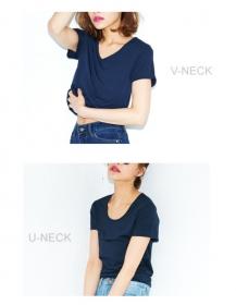 「【着る日焼け止め】ベーシックなデザインの半袖Tシャツ(Re:EDIT(リエディ) トレンドレディースファッション通販)」の商品画像の3枚目