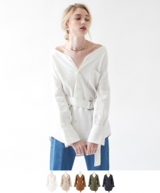 「【titivate】 リネンVネックオーバーサイズシャツ(株式会社ALEFS(titivate))」の商品画像