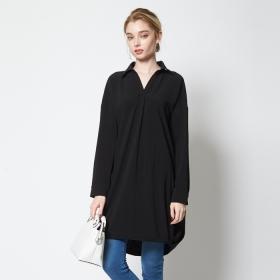 【titivate】ドレープ裾長袖シャツワンピースの商品画像