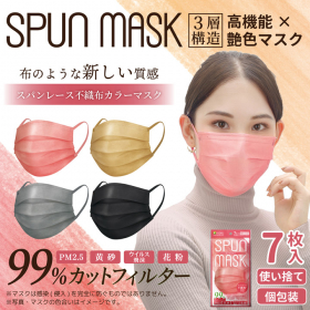 スパンレース不織布カラーマスク 7枚入 個包装の商品画像