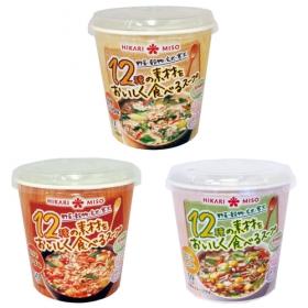「12種の素材をおいしく食べるスープ(しょうゆ・チゲ・鶏だししお)(ひかり味噌株式会社)」の商品画像